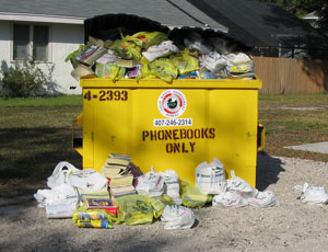 phone books cannot go into your recycling stream