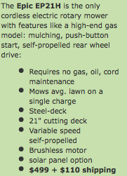 epic solar mower specs